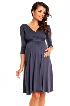 Womens Plus Size V-Neck Bandage Maternity Dress Dark Gray