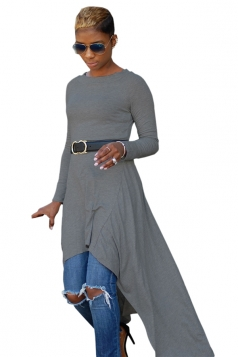 Womens Belt Crew Neck Asymmetrical Hem Plain Long Sleeve Dress Gray