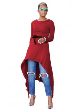 Womens Belt Crew Neck Asymmetrical Hem Plain Long Sleeve Dress Ruby