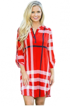 Womens V-Neck Long Sleeve Button Plaid Shirt Dress Red