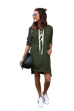 Womens Lace Up Pockets Slit Plain Long Sleeve Hoodie Dress Army Green