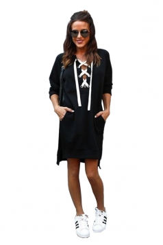 Womens Lace Up Pockets Slit Plain Long Sleeve Hoodie Dress Black
