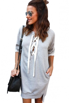 Womens Lace Up Pockets Slit Plain Long Sleeve Hoodie Dress Gray