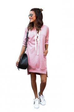 Womens Lace Up Pockets Slit Plain Long Sleeve Hoodie Dress Pink