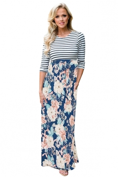 Womens 3/4 Length Sleeve Stripe Lace Up Floral Printed Maxi Dress Blue