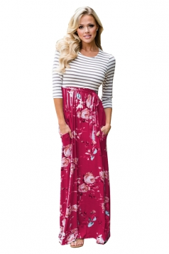 3/4 Length Sleeve Stripe Lace Up Floral Printed Maxi Dress Dark Red