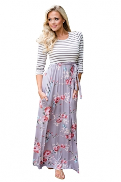 Womens 3/4 Sleeve Stripes And Flowers Printed Maxi Dress Gray
