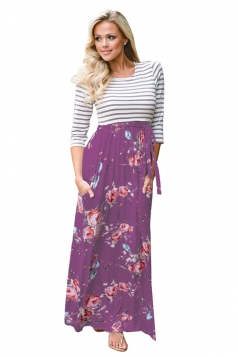 3/4 Length Sleeve Stripe Lace Up Floral Printed Maxi Dress Purple
