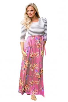 Womens 3/4 Length Sleeve Stripe Lace Up Floral Printed Maxi Dress Pink