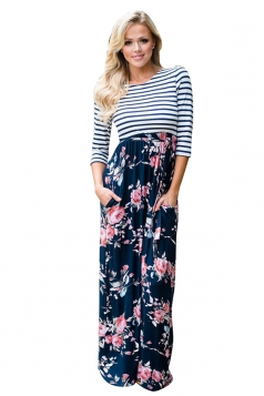 Womens 3/4 Sleeve Stripes And Flowers Printed Maxi Dress Navy Blue