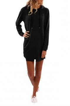 Womens Drawstring Hooded Plain Long Sleeve Dress Black
