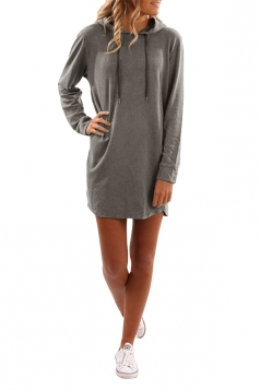 Womens Drawstring Hooded Plain Long Sleeve Dress Gray