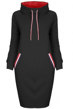 Womens High Collar Drawstring Slant Porket Long Sleeve Dress Black