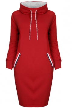 Womens High Collar Drawstring Slant Porket Long Sleeve Dress Red