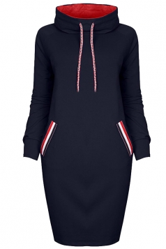 Womens High Collar Drawstring Slant Porket Long Sleeve Dress Navy Blue