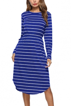 Womens Crew Neck Slant Porket Asymmetrical Hem Stripe Midi Dress Blue