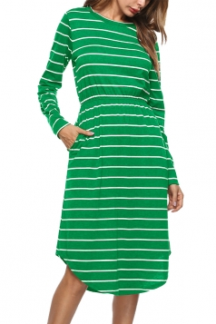 Womens Crew Neck Slant Porket Asymmetrical Hem Stripe Midi Dress Green