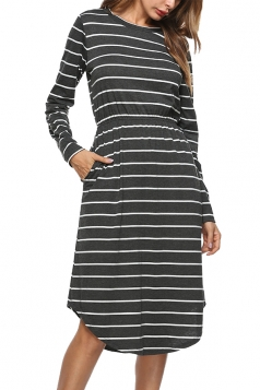 Womens Crew Neck Slant Porket Asymmetrical Hem Stripe Midi Dress Gray