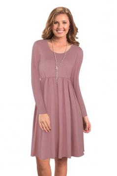 Womens Fashion Crew Neck Long Sleeve Oversized Plain Midi Dress Brown