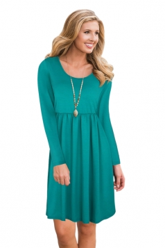 Womens Fashion Crew Neck Long Sleeve Oversized Plain Midi Dress Green