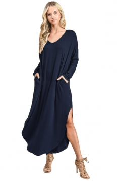 Womens V-Neck Slant Porket Slit Oversized Plain Smock Dress Navy Blue
