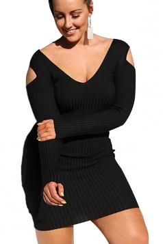 Womens V-Neck Cold Shoulder Long Sleeve Elastic Bodycon Dress Black