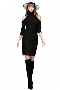 Womens Elegant Polo Neck Cold Shoulder Knit Plain Sweater Dress Black
