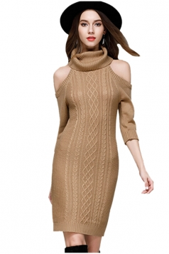 Womens Elegant Polo Neck Cold Shoulder Knit Plain Sweater Dress Camel