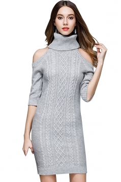 Womens Elegant Polo Neck Cold Shoulder Knit Plain Sweater Dress Gray