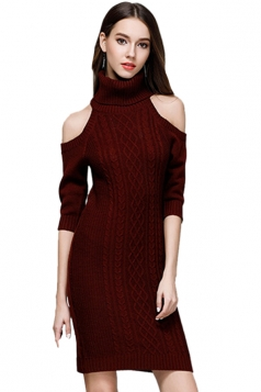 Womens Elegant Polo Neck Cold Shoulder Knit Plain Sweater Dress Ruby