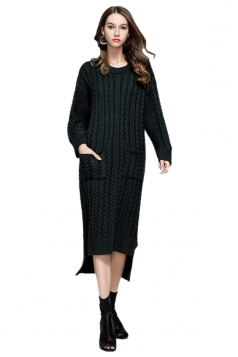 Women Elegant Crew Neck Pocket Knit Slit Maxi Sweater Dress Dark Green