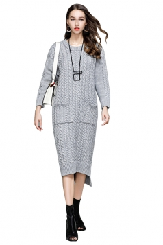 Womens Elegant Crew Neck Pocket Knit Slit Maxi Sweater Dress Gray