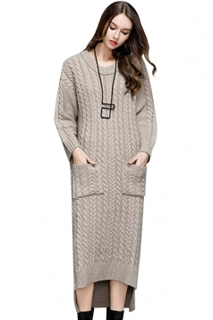 Womens Elegant Crew Neck Pocket Knit Slit Maxi Sweater Dress Khaki