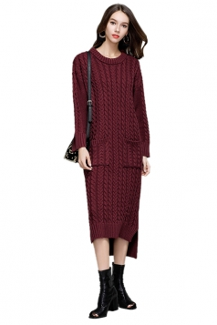 Womens Elegant Crew Neck Pocket Knit Slit Maxi Sweater Dress Ruby