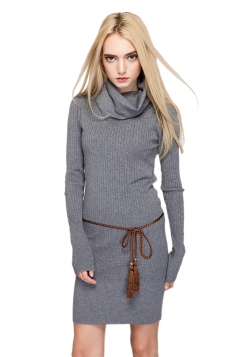 Womens Elegant Turtleneck Bodycon Plain Knit Sweater Dress Gray