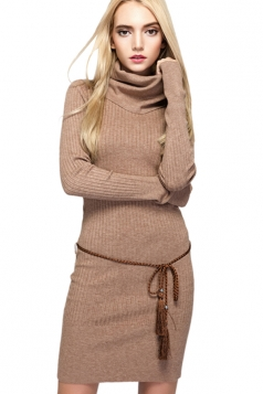 Womens Elegant Turtleneck Bodycon Plain Knit Sweater Dress Khaki