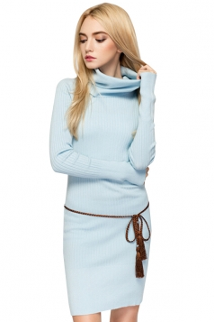 Womens Elegant Turtleneck Bodycon Plain Knit Sweater Dress Light Blue