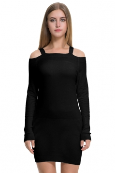 Womens Elegant Cold Shoulder Elastic Bodycon Knit Sweater Dress Black