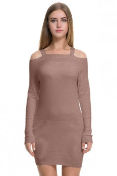 Womens Elegant Cold Shoulder Elastic Bodycon Knit Sweater Dress Khaki