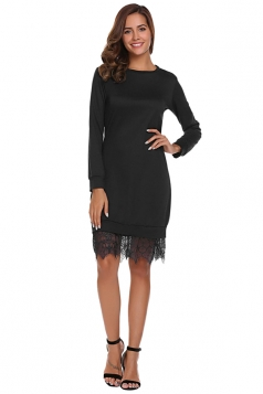 Womens Fashion Lace Hem Plain Sweatshirt Long Sleeve Dress Black