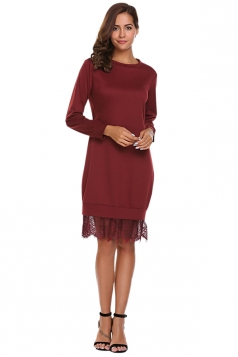 Womens Fashion Lace Hem Plain Sweatshirt Long Sleeve Dress Ruby