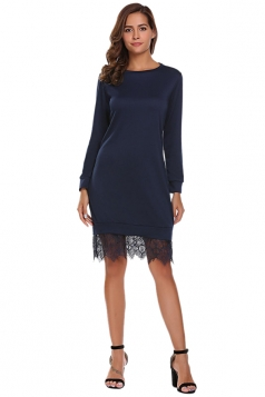 Womens Fashion Lace Hem Plain Sweatshirt Long Sleeve Dress Navy Blue