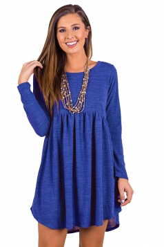 Womens Casual Crew Neck Oversized Pleated Long Sleeve Dress Blue