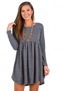 Womens Casual Crew Neck Oversized Pleated Long Sleeve Dress Gray