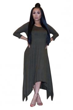 Womens 3/4 Length Sleeve Asymmetrical Hem Plus Size Dress Army Green