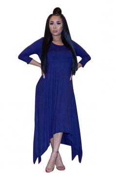 Womens 3/4 Length Sleeve Asymmetrical Hem Maxi Plus Size Dress Blue