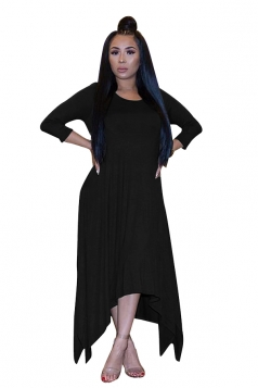 Womens 3/4 Length Sleeve Asymmetrical Hem Maxi Plus Size Dress Black