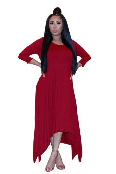 Womens 3/4 Length Sleeve Asymmetrical Hem Maxi Plus Size Dress Red