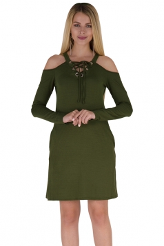 V-Neck Lace Up Cold Shoulder Pocket Long Sleeve Dress Army Green