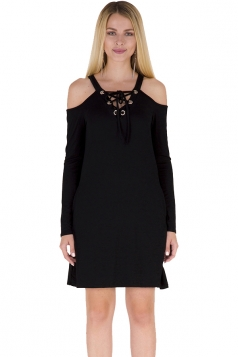 V-Neck Eyelet Lace Up Cold Shoulder Pocket Long Sleeve Dress Black